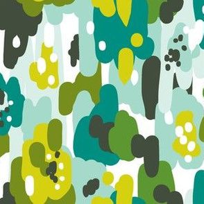 Painted Camouflage - Green Teal Aqua
