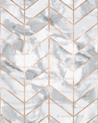 Carrera Marble Herringbone Rose Gold Gilt Fabric