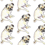 Pug   illustrated baby or children's fabric