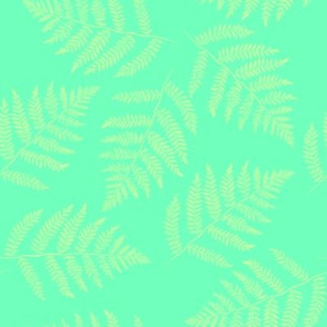 Hawaiian fern - yellow on aqua