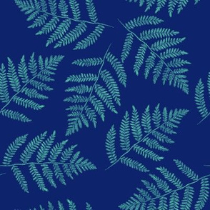 Hawaiian fern - aqua on navy