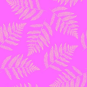 Hawaiian fern - yellow on pink