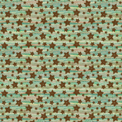 Starfish on spattered stripe background