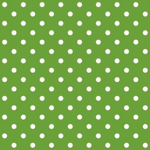 Green + Polka White Dots