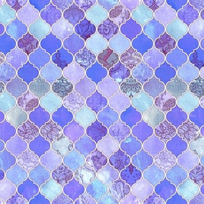 Purple and Lilac Decorative Moroccan Tiles Tiny Print