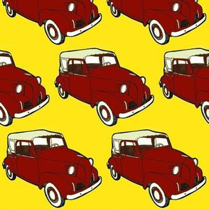red 1939-1942  Crosley Convert Coupe on yellow