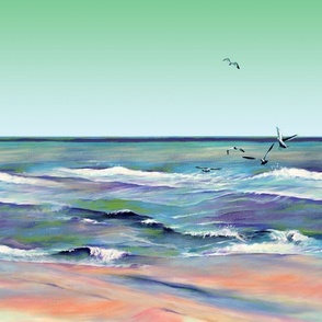 ocean scene with sea gulls