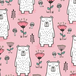 Bear with Flowers Woodland on Pink