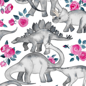 Dinosaurs and Roses on White large print