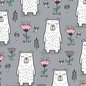 Bear with Flowers Woodland on Grey