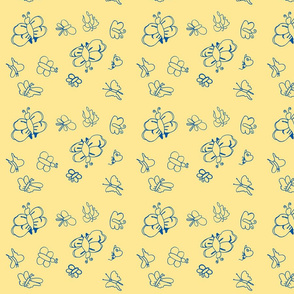 Butterflies (Blue on Yellow)