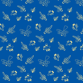 Dragonflies (Yellow on Blue)