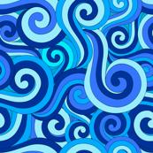 Ocean Swirls and Spirals in Blue