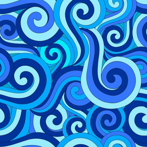 Ocean Swirls and Spirals in Blue