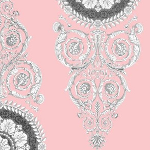 Neoclassical Damask ~ Dauphine Pink and White