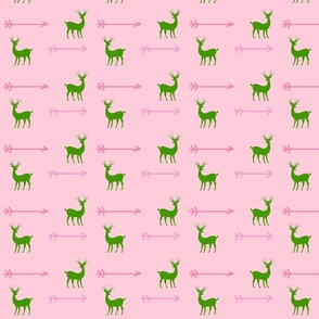 Deer little arrows  pink green silhouette