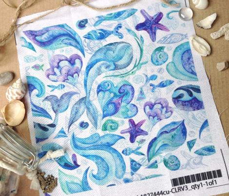Blue Watercolor Abstract Marine Ornaments