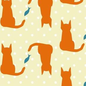 ginger cat polka-dot