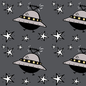 Spaceships Among The Stars on Grey