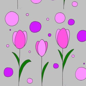 Happy Tulips - summer, floral, nursery, kids print