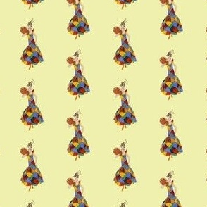 Repeating Pattern of a Vintage Lady in a Colourful Dress