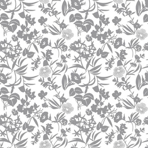 tropical blooms - grey/white