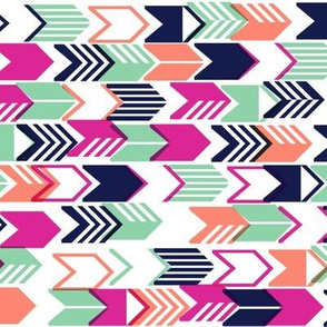 Tribal Arrows* (Pink Riot) || geometric chevron arrow native arrowhead stripes