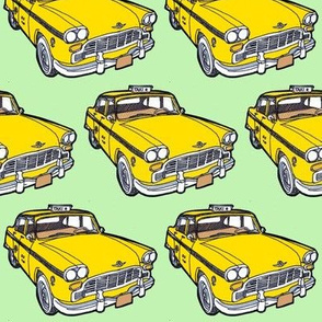 1963-1982 Checker Taxi Cab yellow on green