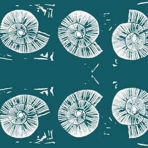 large seashell block print in ocean