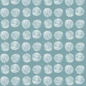 razor clam block print in pool