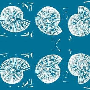 large seashell block print in sky blue