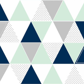 Mint Navy Dot Triangles