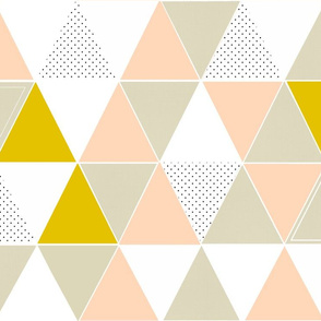 Blush Mustard Taupe Dot Triangles