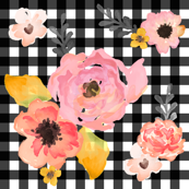 Gingham Floral Dreams in Pink Yellow & Black