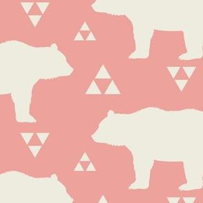 Bears & Triangles - Coral & Cream
