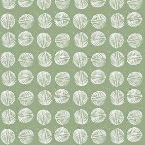 razor clam block print in seaweed