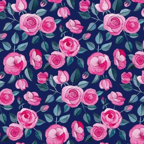 Pink Watercolor Roses on Dark Blue Purple