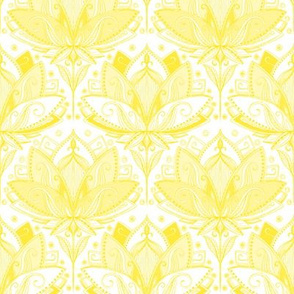 Sunshine Yellow Art Nouveau Lotus Lace