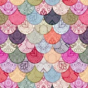 Boho Doodle Multi color Mermaid Scales