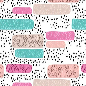 Geometric abstract dots and stripes colorful memphis style design pink blue