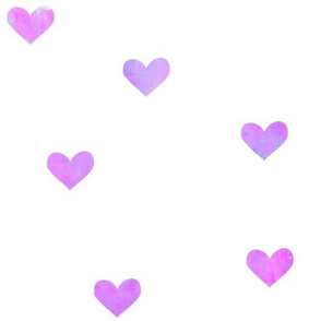 Purple and Pink Watercolor Hearts
