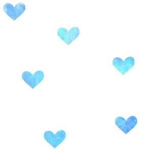 Blue Watercolor Hearts