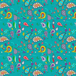 Pretty Paisley on Teal