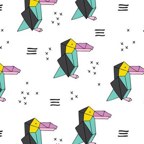 Origami paper art toucan parrot penguin birds geometric cross print retro style memphis