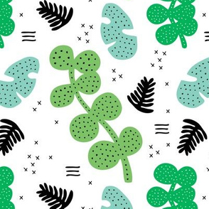 Tropical summer garden gender neutral petals and leaves memphis geometric pastel style green mint blue
