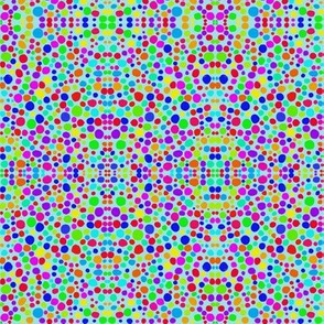Rainbow Dots Mosaic on Cornflower Blue