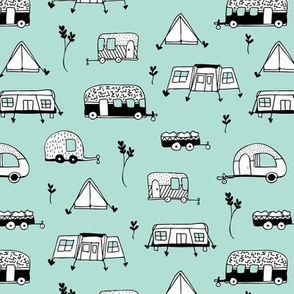 Cool summer camping mint tent caravan and camper van illustration vacation design