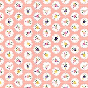 Wedgewood* (Peach Halves) || flowers flower floral doily doilies vintage shabby chic garden lattice polka dots nature leaves garden