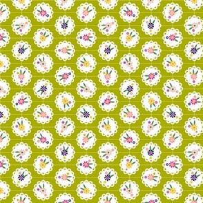 Wedgewood* (Split Pea Soup) || flowers flower floral doily doilies vintage shabby chic garden lattice polka dots nature leaves garden