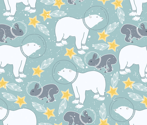 Bear and rabbit kids space fabric julia dreams spoonflower for Kids space fabric